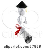 Royalty Free RF Clipart Illustration Of A 3d White Bob Character Graduate Surfing On A Diploma Version 2