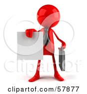 Royalty Free RF Clipart Illustration Of A 3d Red Bob Character Holding Out A Contract Version 1 by Julos