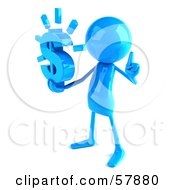 Royalty Free RF Clipart Illustration Of A 3d Blue Bob Character Holding A Dollar Symbol Version 2 by Julos