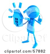 Royalty Free RF Clipart Illustration Of A 3d Blue Bob Character Holding A House Version 2 by Julos