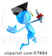 Royalty Free RF Clipart Illustration Of A 3d Blue Bob Character Graduate Holding His Diploma Version 2 by Julos