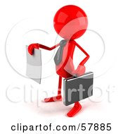 Royalty Free RF Clipart Illustration Of A 3d Red Bob Character Holding Out A Contract Version 2