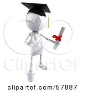 Royalty Free RF Clipart Illustration Of A 3d White Bob Character Graduate Holding A Diploma Version 2