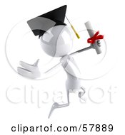 Royalty Free RF Clipart Illustration Of A 3d White Bob Character Graduate Holding A Diploma Version 5