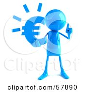 Royalty Free RF Clipart Illustration Of A 3d Blue Bob Character Holding A Euro Symbol Version 1 by Julos