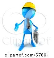 Poster, Art Print Of 3d Blue Bob Character Contractor Reaching Out To Shake Hands - Version 1