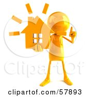 Royalty Free RF Clipart Illustration Of A 3d Yellow Bob Character Holding A House Version 1