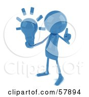 Royalty Free RF Clipart Illustration Of A 3d Blue Bob Character Holding A Light Bulb by Julos