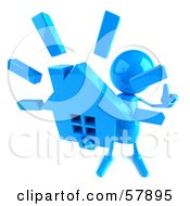 Royalty Free RF Clipart Illustration Of A 3d Blue Bob Character Holding A House Version 3 by Julos