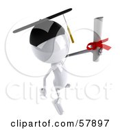 Royalty Free RF Clipart Illustration Of A 3d White Bob Character Graduate Holding A Diploma Version 8