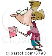 Woman Holding A Pink Slip At Work