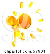 Royalty Free RF Clipart Illustration Of A 3d Yellow Bob Character Using A Megaphone Version 3