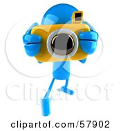 Royalty Free RF Clipart Illustration Of A 3d Blue Bob Character Taking Pictures With A Camera Version 2