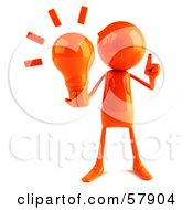 Royalty Free RF Clipart Illustration Of A 3d Orange Bob Character Holding A Light Bulb Version 1