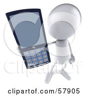 Royalty Free RF Clipart Illustration Of A 3d White Bob Character Holding A Cell Phone Version 2 by Julos