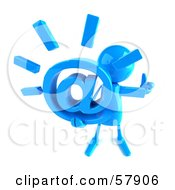 Royalty Free RF Clipart Illustration Of A 3d Blue Bob Character Holding An At Symbol Version 3 by Julos
