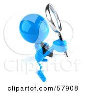 3d Blue Bob Character Using A Magnifying Glass - Version 3
