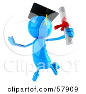 Royalty Free RF Clipart Illustration Of A 3d Blue Bob Character Graduate Holding His Diploma Version 3 by Julos