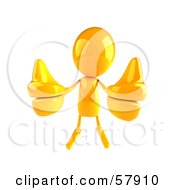 Royalty Free RF Clipart Illustration Of A 3d Yellow Bob Character Giving Two Thumbs Up Version 1