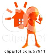 3d Orange Bob Character Holding A House