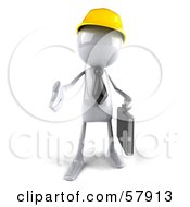 Royalty Free RF Clipart Illustration Of A 3d White Bob Contractor Character Reaching Out To Shake Hands Version 1 by Julos