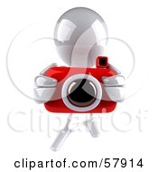 Royalty Free RF Clipart Illustration Of A 3d White Bob Character Taking Pictures With A Camera Version 4 by Julos