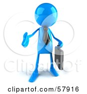 Poster, Art Print Of 3d Blue Bob Character Carrying A Briefcase And Reaching Out To Shake Hands - Version 1