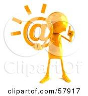 3d Yellow Bob Character Holding An At Symbol - Version 1