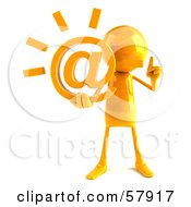 Royalty Free RF Clipart Illustration Of A 3d Yellow Bob Character Holding An At Symbol Version 1