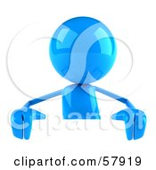 3d Blue Bob Character Standing Behind A Blank Sign