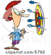 Woman Throwing Darts At A Target Clipart Illustration