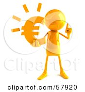 Royalty Free RF Clipart Illustration Of A 3d Yellow Bob Character Holding A Euro Symbol Version 1 by Julos