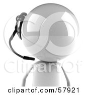 Royalty Free RF Clipart Illustration Of A 3d White Bob Character Wearing A Headset Version 3