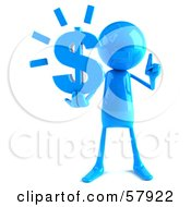 Royalty Free RF Clipart Illustration Of A 3d Blue Bob Character Holding A Dollar Symbol Version 1 by Julos