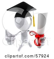 Royalty Free RF Clipart Illustration Of A 3d White Bob Character Graduate Holding A Diploma Version 7