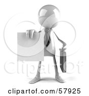Royalty Free RF Clipart Illustration Of A 3d White Bob Character Holding A Contract Version 1
