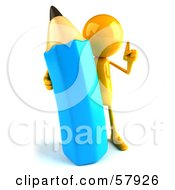 Royalty Free RF Clipart Illustration Of A 3d Yellow Bob Character With A Giant Blue Pencil Version 1