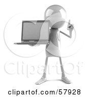 3d White Bob Character Holding A Laptop - Version 1