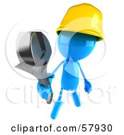 3d Blue Bob Builder Character Holding A Wrench - Version 3