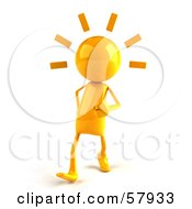 Royalty Free RF Clipart Illustration Of A 3d Yellow Bob Character Walking by Julos