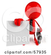 Royalty Free RF Clipart Illustration Of A 3d Red Bob Character Holding Out A Contract Version 3