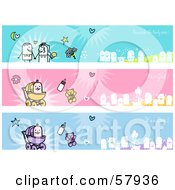Royalty Free RF Clipart Illustration Of A Digital Collage Of Wedding And Baby Banners