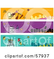 Royalty Free RF Clipart Illustration Of A Digital Collage Of Party People Banners by NL shop