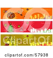 Digital Collage Of Happy Halloween Happy Christmas And Happy New Year Greeting Banners