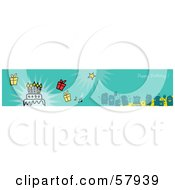 Royalty Free RF Clipart Illustration Of A Green Happy Birthday Party People Banner by NL shop