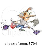 Woman Wearing Herself Out While Doing Spring Cleaning Clipart Illustration