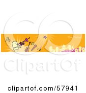 Royalty Free RF Clipart Illustration Of An Orange Music Festival Banner With Musicians And Instruments by NL shop