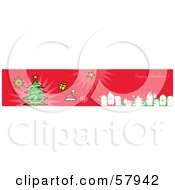 Royalty Free RF Clipart Illustration Of A Red Happy Christmas Greeting Banner With Party People Gifts And A Tree by NL shop