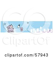 Royalty Free RF Clipart Illustration Of A Blue Its A Boy Banner With A Baby Boy And Family by NL shop