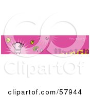 Royalty Free RF Clipart Illustration Of A Pink Happy Mothers Day Greeting Banner With A Mom And Family by NL shop
